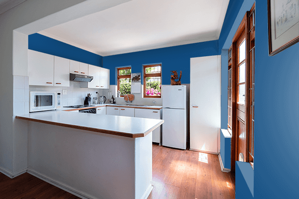 Pretty Photo frame on Dark Cerulean color kitchen interior wall color
