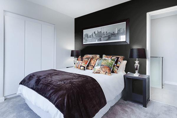 Pretty Photo frame on Smoky Black color Bedroom interior wall color