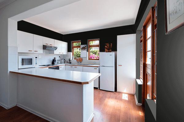 Pretty Photo frame on Smoky Black color kitchen interior wall color