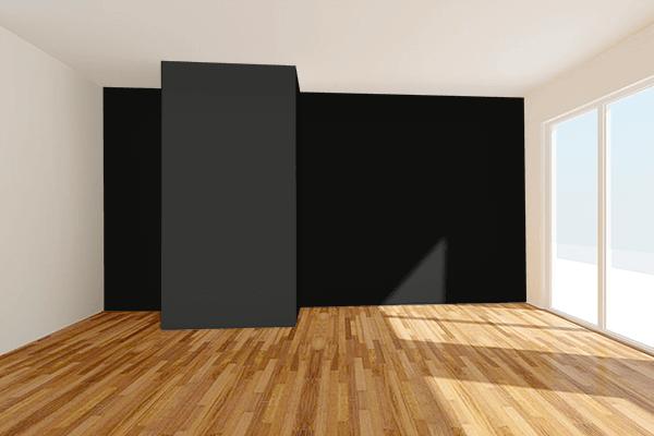 Pretty Photo frame on Smoky Black color Living room wal color