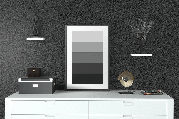 Pretty Photo frame on Chinese Black color drawing room interior textured wall