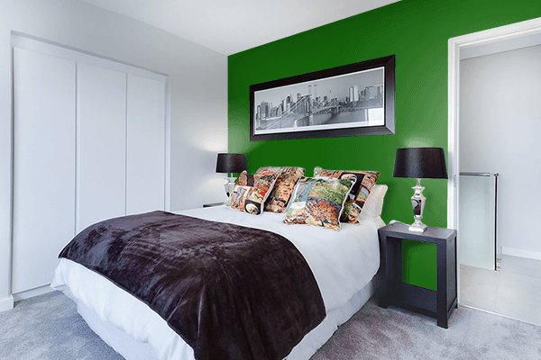Pretty Photo frame on Royal Green color Bedroom interior wall color