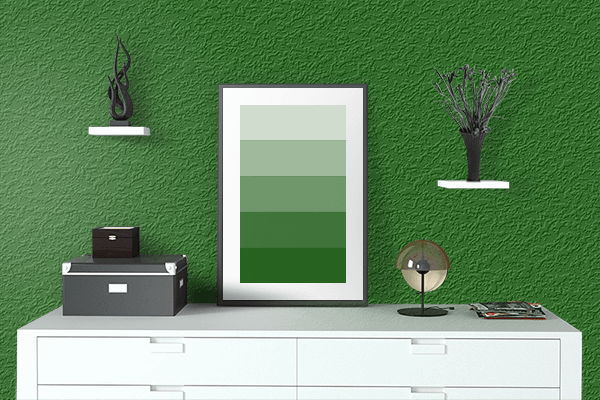 Pretty Photo frame on Royal Green color drawing room interior textured wall