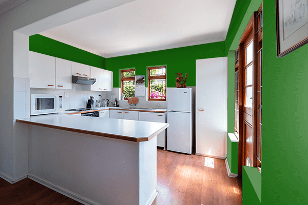 Pretty Photo frame on Royal Green color kitchen interior wall color