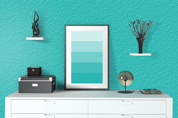 Pretty Photo frame on Dark Turquoise color drawing room interior textured wall