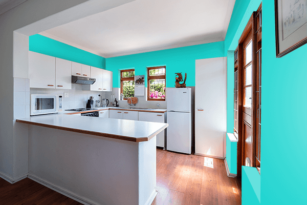 Pretty Photo frame on Dark Turquoise color kitchen interior wall color