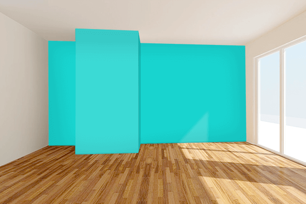 Pretty Photo frame on Dark Turquoise color Living room wal color