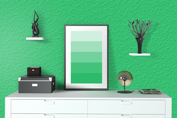 Pretty Photo frame on Malachite color drawing room interior textured wall