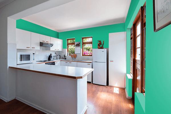 Pretty Photo frame on Jungle Green color kitchen interior wall color
