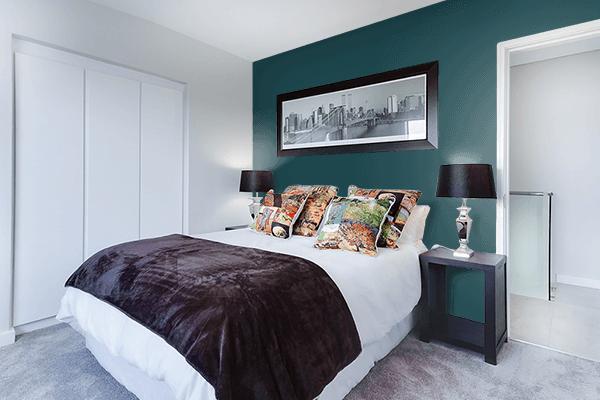 Pretty Photo frame on Japanese Indigo color Bedroom interior wall color