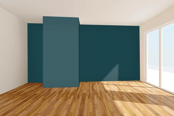 Pretty Photo frame on Japanese Indigo color Living room wal color
