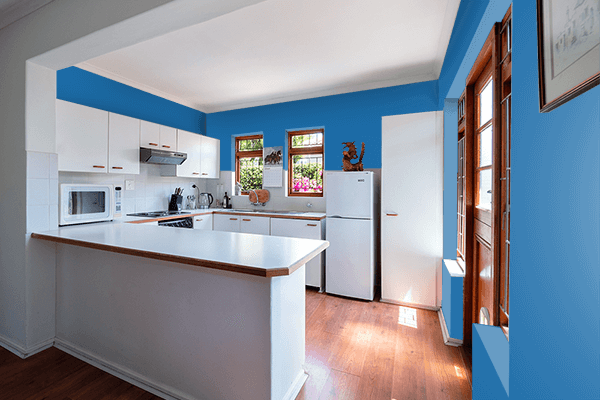 Pretty Photo frame on Green-Blue color kitchen interior wall color