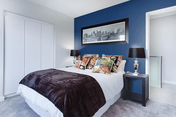 Pretty Photo frame on Indigo (Rainbow) color Bedroom interior wall color
