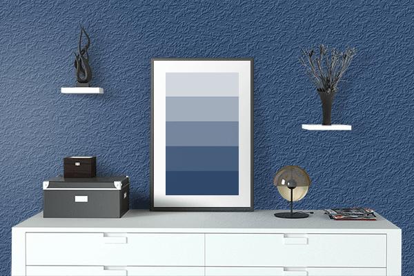 Pretty Photo frame on Indigo (Rainbow) color drawing room interior textured wall