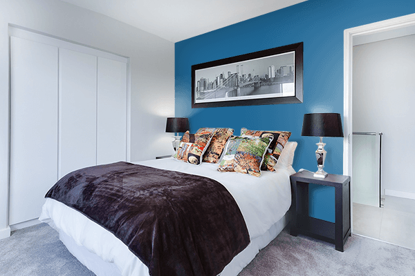 Pretty Photo frame on Lapis Lazuli color Bedroom interior wall color