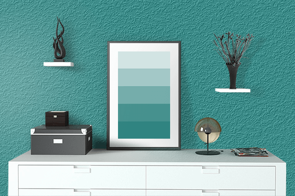 Pretty Photo frame on Metallic Seaweed color drawing room interior textured wall