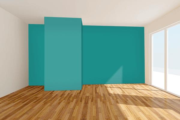 Pretty Photo frame on Metallic Seaweed color Living room wal color