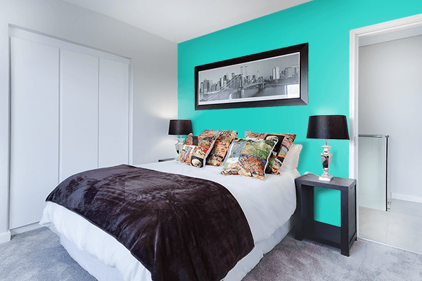 Pretty Photo frame on Maximum Blue Green color Bedroom interior wall color