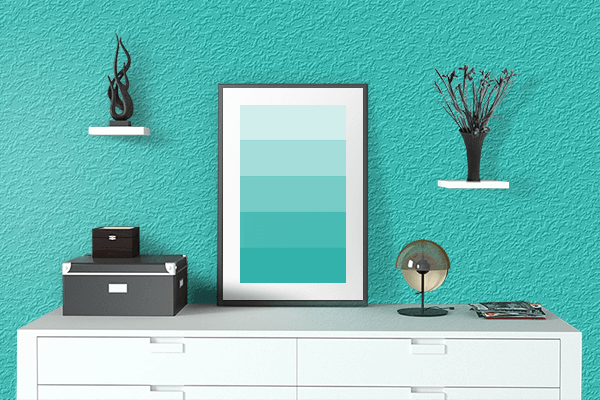 Pretty Photo frame on Maximum Blue Green color drawing room interior textured wall