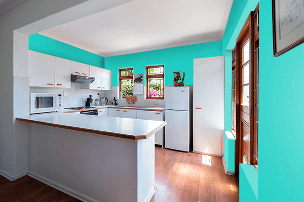 Pretty Photo frame on Maximum Blue Green color kitchen interior wall color