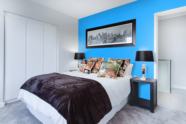 Pretty Photo frame on Button Blue color Bedroom interior wall color