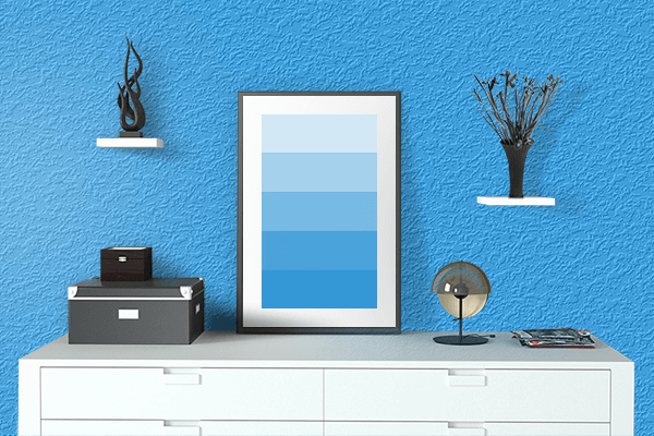 Pretty Photo frame on Button Blue color drawing room interior textured wall