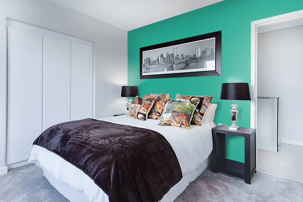 Pretty Photo frame on Jungle Green color Bedroom interior wall color