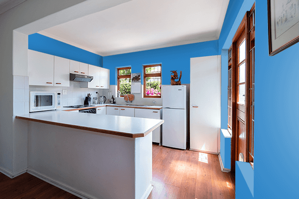 Pretty Photo frame on Cyan Cornflower Blue color kitchen interior wall color