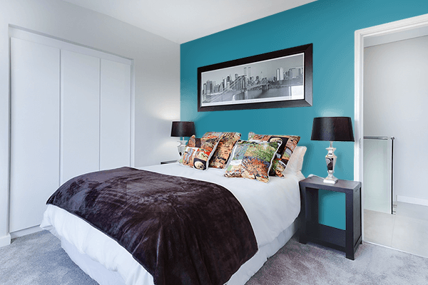 Pretty Photo frame on Teal Blue color Bedroom interior wall color