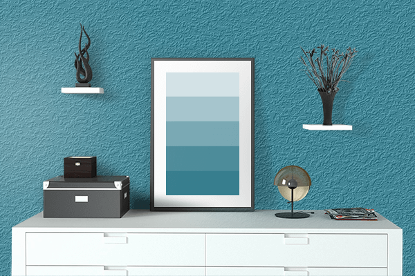Pretty Photo frame on Teal Blue color drawing room interior textured wall