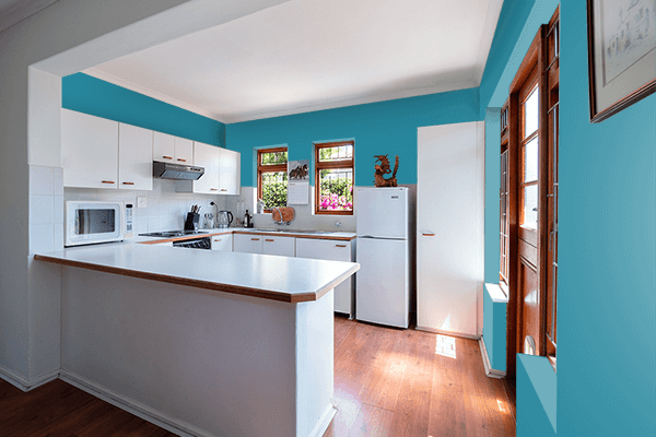 Pretty Photo frame on Teal Blue color kitchen interior wall color