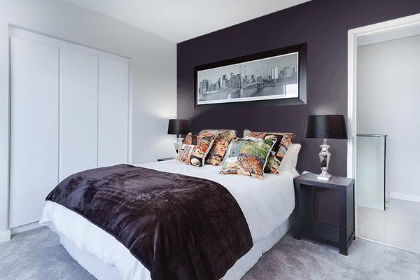 Pretty Photo frame on Dark Purple color Bedroom interior wall color