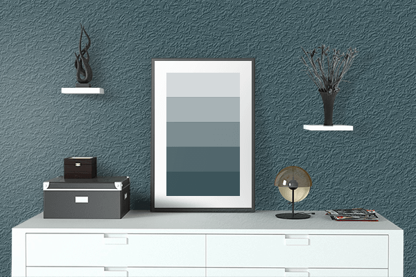 Pretty Photo frame on Dark Slate Gray color drawing room interior textured wall