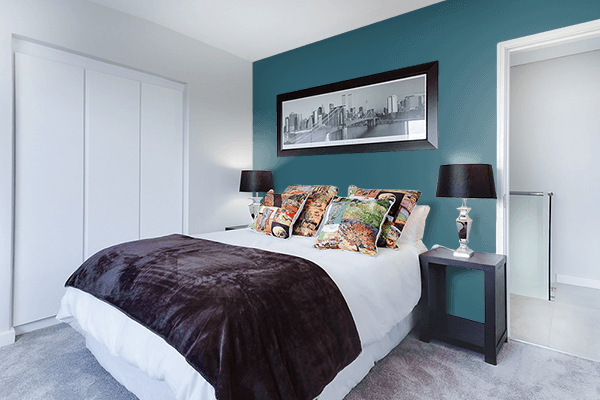 Pretty Photo frame on Metallic Blue color Bedroom interior wall color