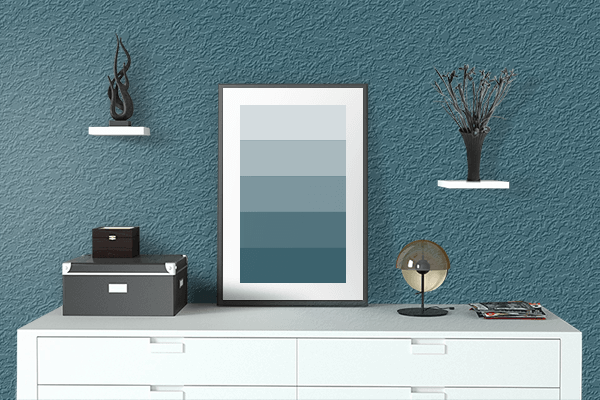 Pretty Photo frame on Metallic Blue color drawing room interior textured wall