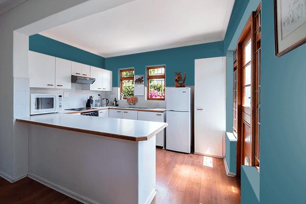 Pretty Photo frame on Metallic Blue color kitchen interior wall color