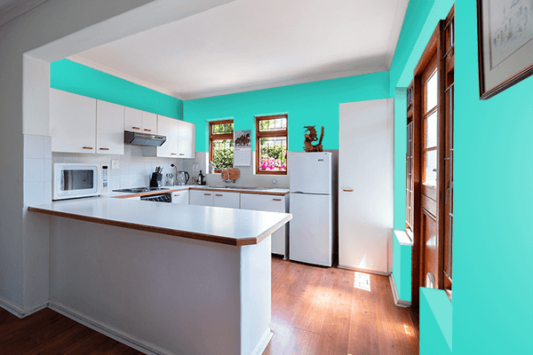 Pretty Photo frame on Turquoise color kitchen interior wall color