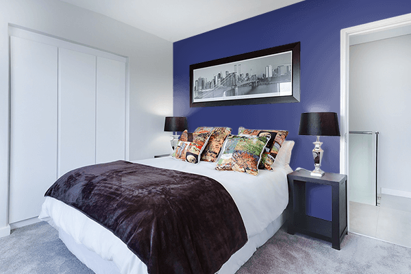 Pretty Photo frame on American Blue color Bedroom interior wall color