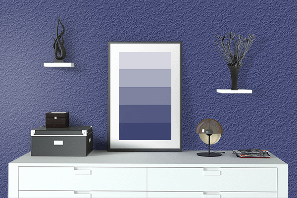 Pretty Photo frame on American Blue color drawing room interior textured wall