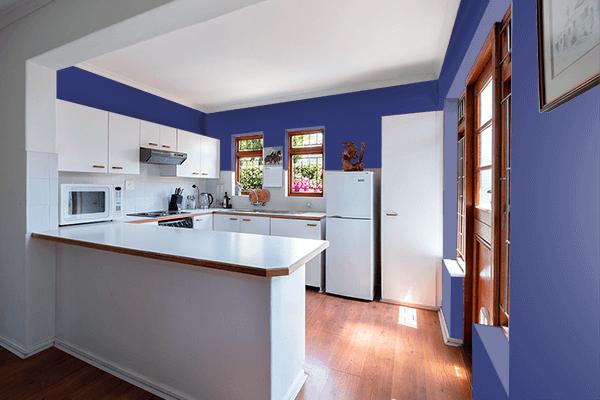 Pretty Photo frame on American Blue color kitchen interior wall color