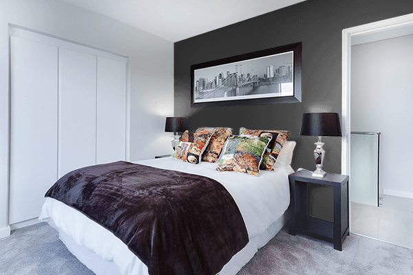 Pretty Photo frame on Dark Charcoal color Bedroom interior wall color