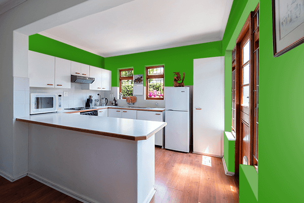 Pretty Photo frame on Slimy Green color kitchen interior wall color