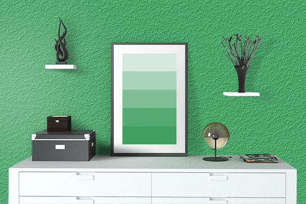 Pretty Photo frame on Medium Sea Green color drawing room interior textured wall