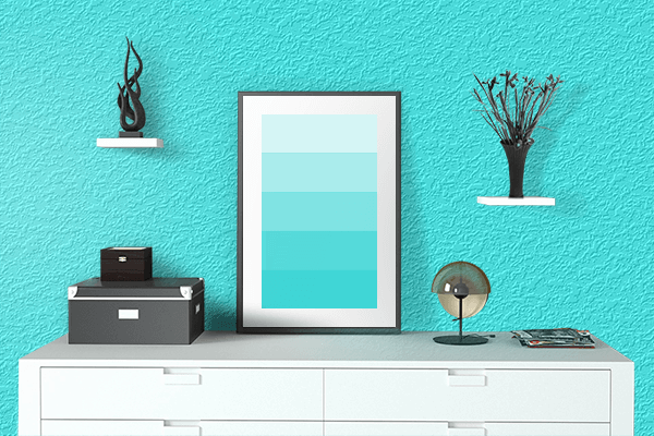 Pretty Photo frame on Fluorescent Blue color drawing room interior textured wall