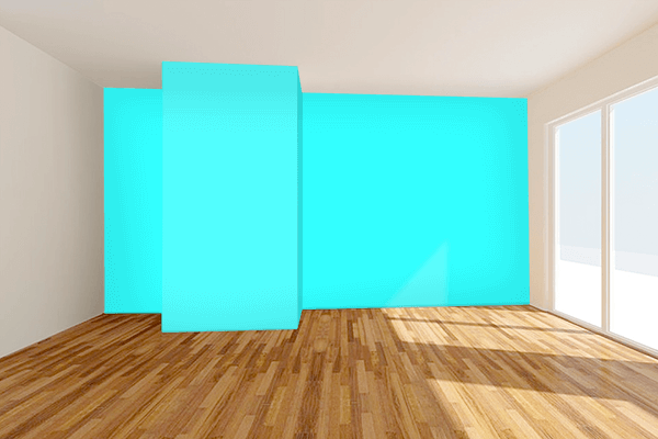 Pretty Photo frame on Fluorescent Blue color Living room wal color