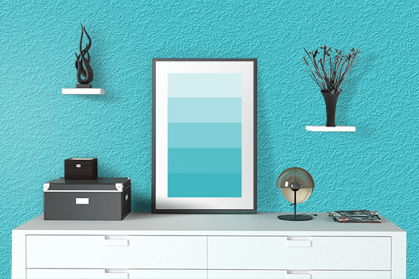 Pretty Photo frame on Turquoise color drawing room interior textured wall