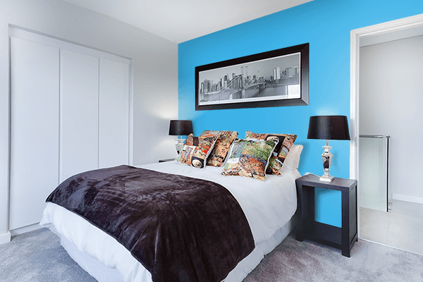 Pretty Photo frame on Picton Blue color Bedroom interior wall color