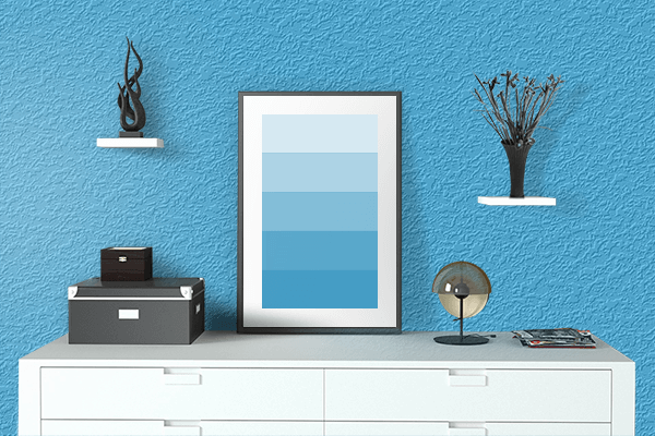 Pretty Photo frame on Picton Blue color drawing room interior textured wall