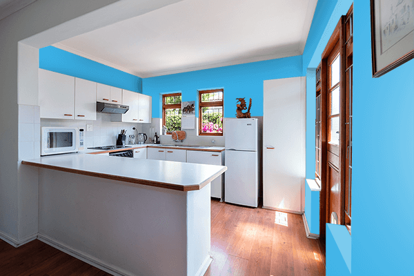 Pretty Photo frame on Picton Blue color kitchen interior wall color