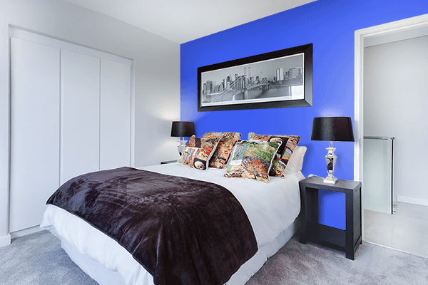 Pretty Photo frame on Ultramarine Blue color Bedroom interior wall color